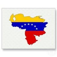 Mapa con los colores de la bandera de Venezuela