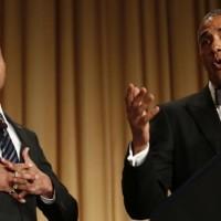 El presidente Barack Obama en su ultima Cena de gala con los reporteros que cubren la Casa Blanca
