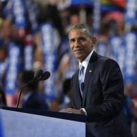 Barack Obama presidente de EEUU en su discurso en la Convensión demócrata