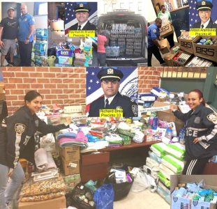 Policías NY colectan toneladas ayuda para dannificados huracanes
